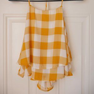 Yellow Gingham Print Backless Top